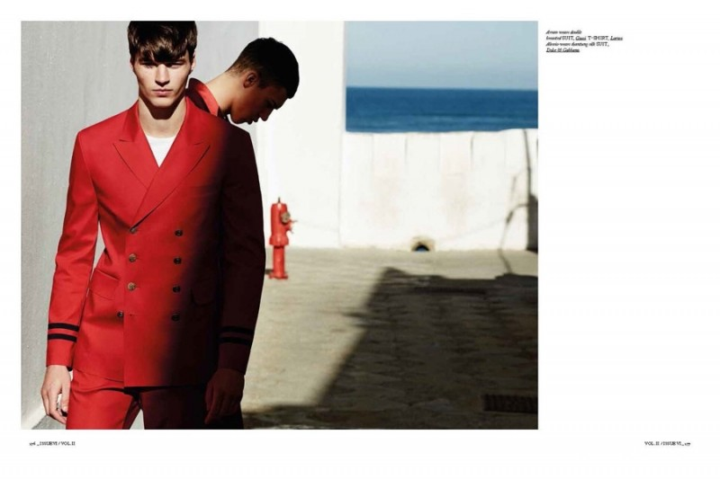 Arran Sly is sharp in a Gucci nautical-inspired suit.