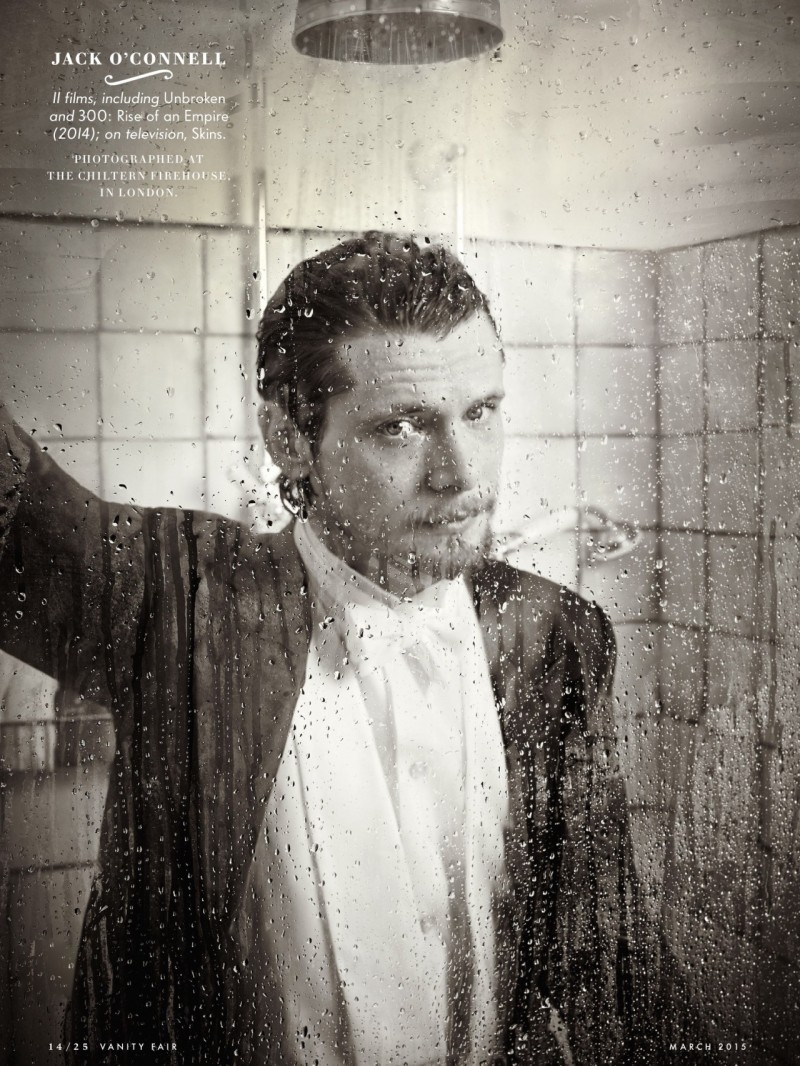 Jack O'Connell takes a steamy shower for Vanity Fair.