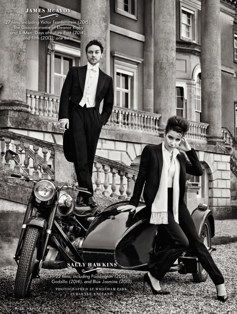 James McAvoy and Sally Hawkins wear his and her formal tuxedos in Vanity Fair.