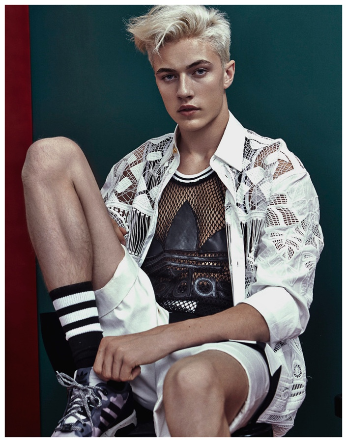 Lucky Blue Smith embraces a sporty outlook in Adidas Originals.