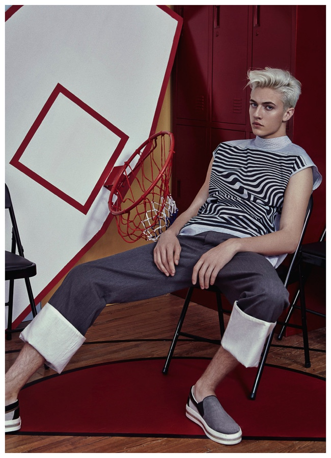 Lucky Blue Smith goes for a Loewe cuffed look.