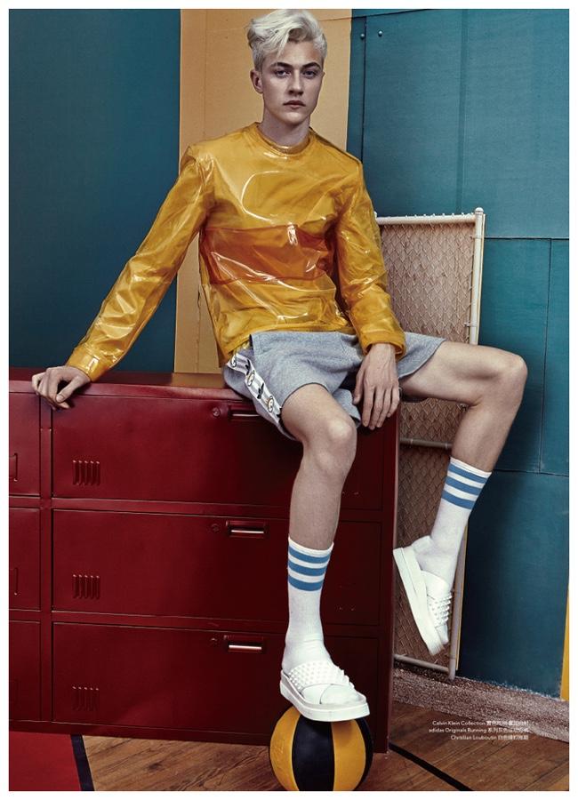 Lucky Blue smith sports a pleasant pop of color, courtesy of Calvin Klein Collection.
