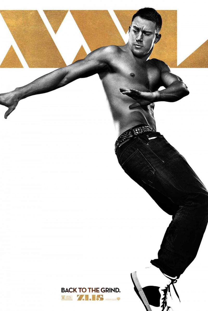 A shirtless Channing Tatum hits a dance pose on his toes for the latest poster from Magic Mike XXL.