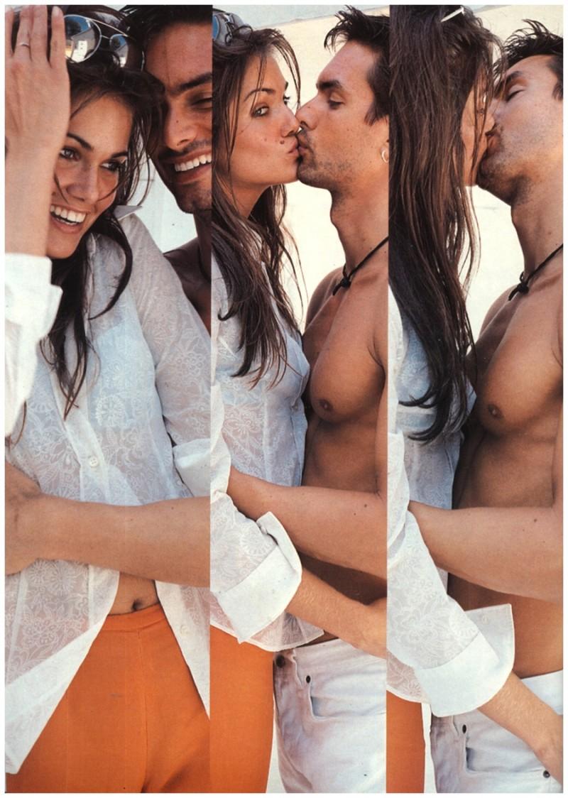 Markus Schenkenberg joins Rosemarie Wetzel for Vogue Germany's June 1996 issue.