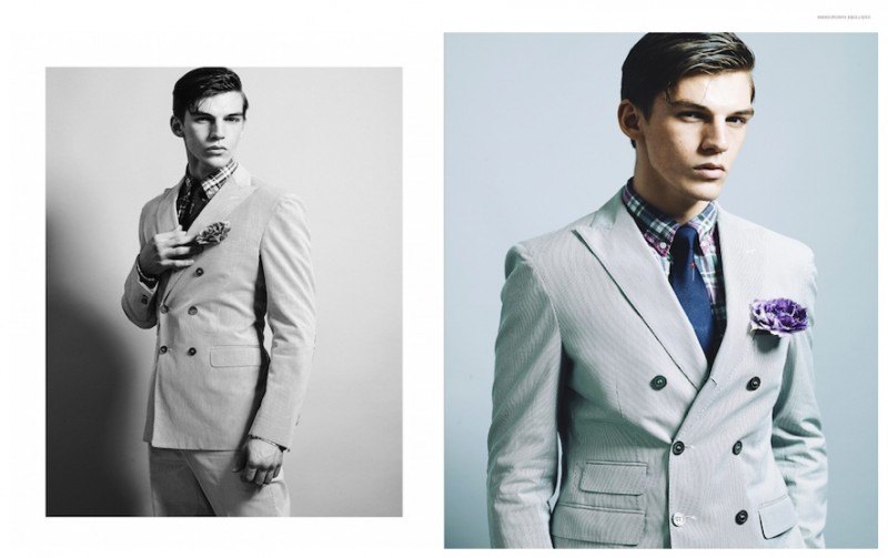 Miles Hurley embraces a dandy look in a double-breasted suit.