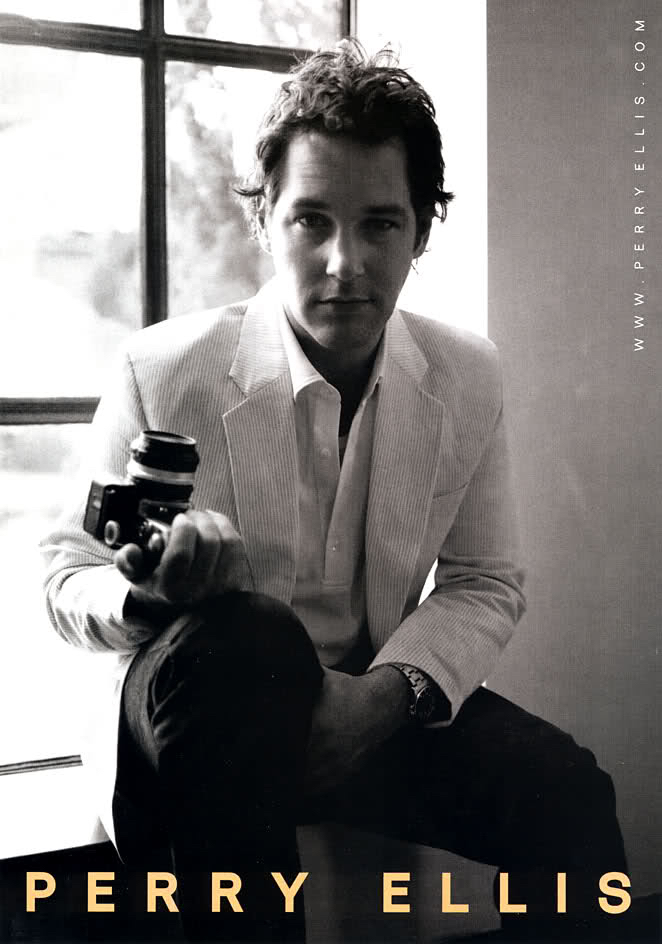 Paul Rudd channels the spirit of a photographer for a black & white campaign image.