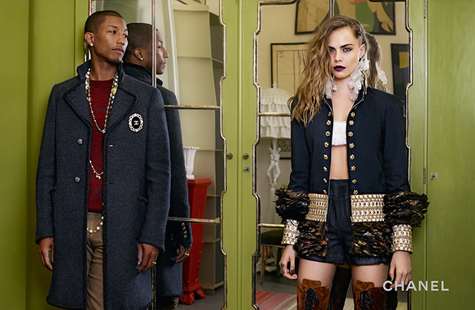 Pharrell joins Chanel muse Cara Delevingne.
