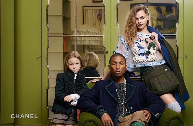 Hudson Kroenig, Pharrell and Cara Delevingne get comfortable for a Chanel image full of attitude.