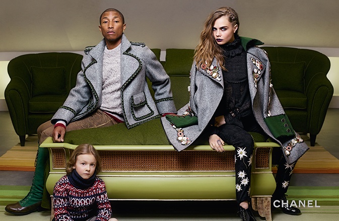 Pharrell and Cara Delevingne coordinate for an image with Hudson Kroenig.