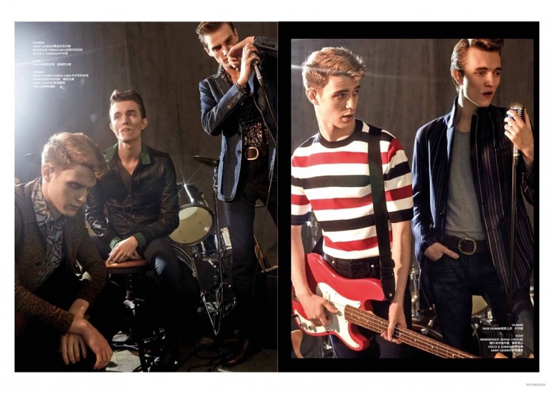 The band gets together in skinny denim jeans and tailored jackets for a rehearsal.