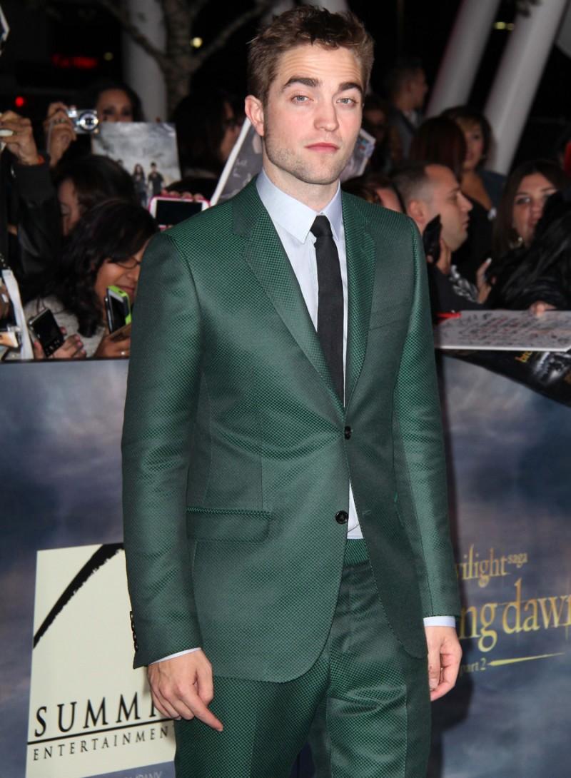 "Robert Pattinson at the world premiere of his movie ""The Twilight Saga: Breaking Dawn - Part 2"" at the Nokia Theatre LA Live."