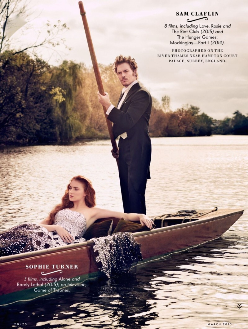 Photographed for Vanity Fair, Sophie Turner and Sam Claflin go for a boat ride.