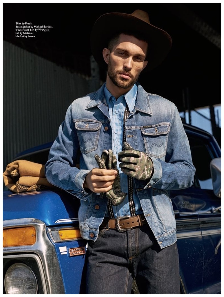 Wearing denim essentials from Prada, Michael Bastian and Wrangler, Tobias Sorensen layers the blue classic for a western style overhaul.