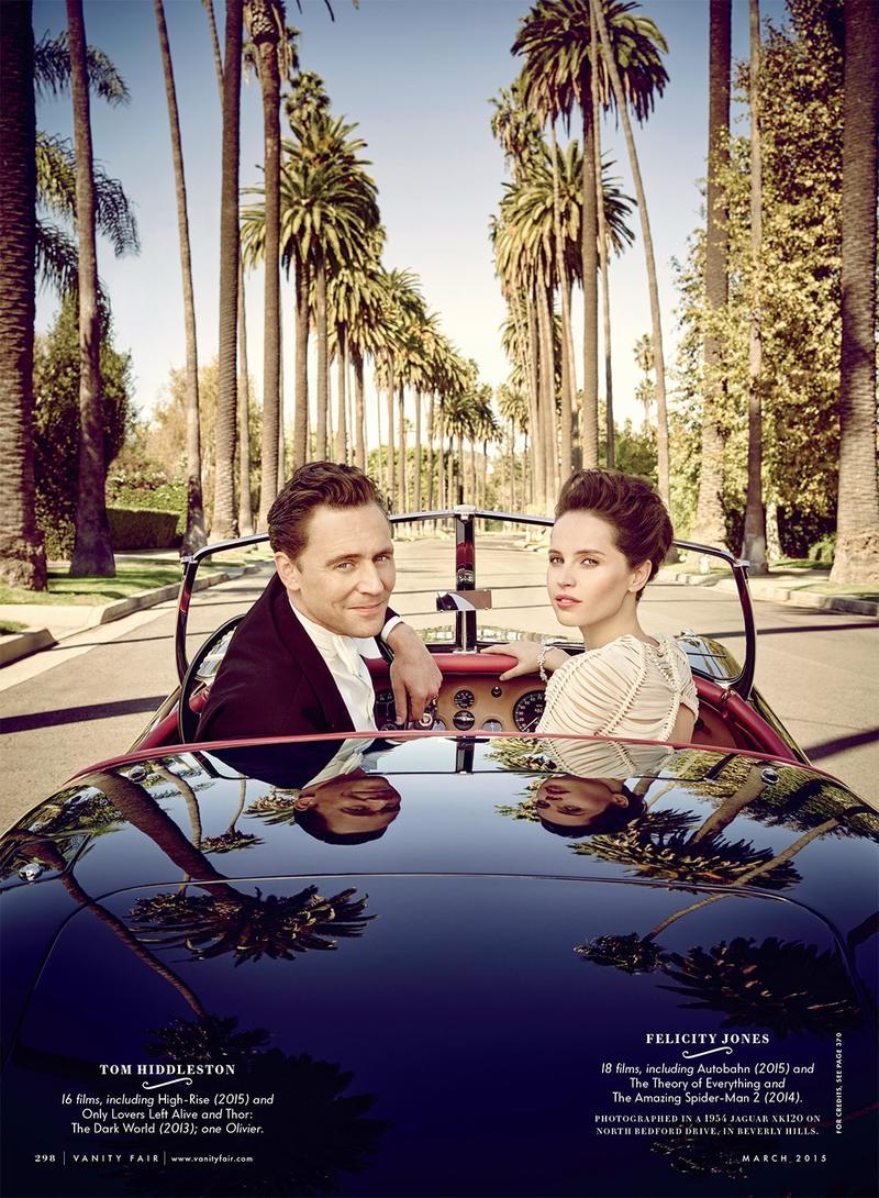 Tom Hiddleston and Felicity Jones go for a sunny California drive in Vanity Fair.