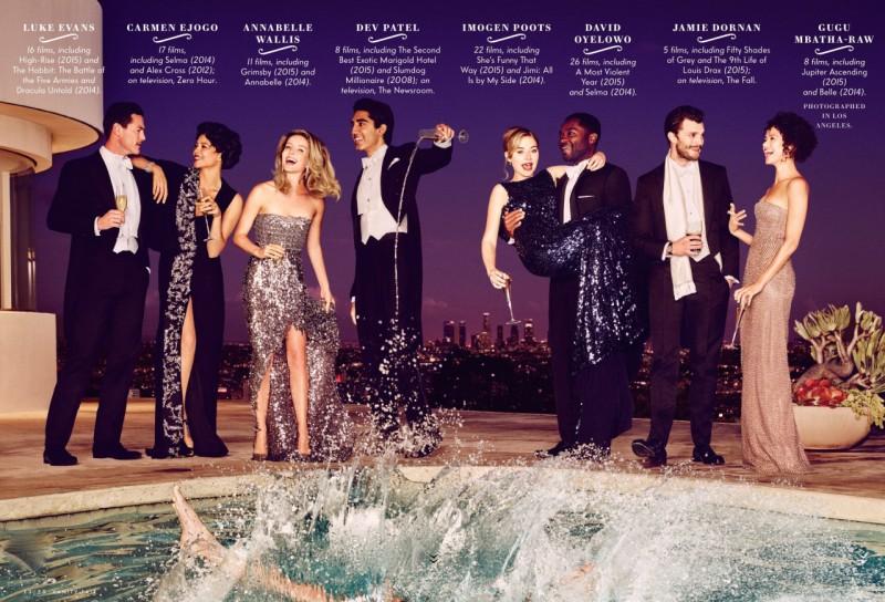 Luke Evans, Carmen Ejogo, Annabelle Wallis, Dev Patel, Imogen Poots, David Oyelowo, Jamie Dornan and Gugu Mbatha-Raw are captured poolside for Vanity Fair.