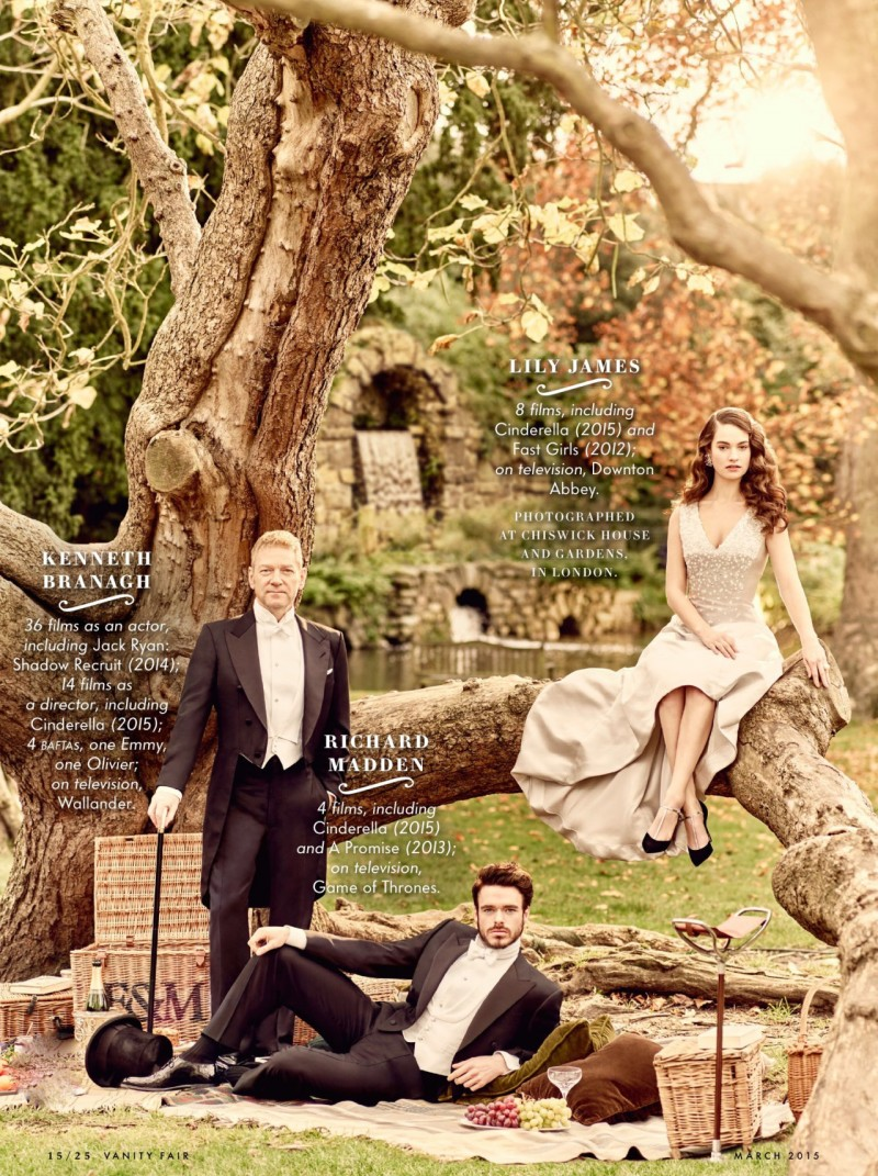 Featured in Vanity Fair, Kenneth Branagh, Richard Madden and Lily James pose against the backdrop of a great big tree.