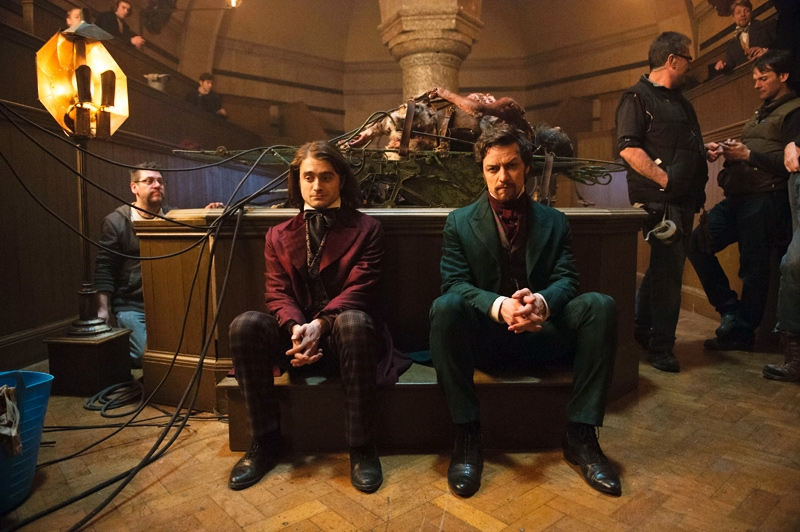 Daniel Radcliffe and James McAvoy film Victor Frankenstein.