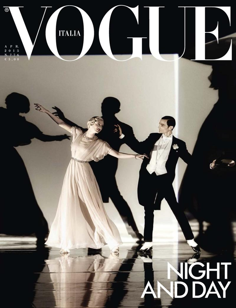 Karen Elson and Christopher Niquet cover the April 2015 issue of Vogue Italia.