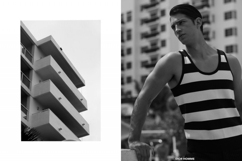 Ben goes nautical in a striped Dior Homme tank.