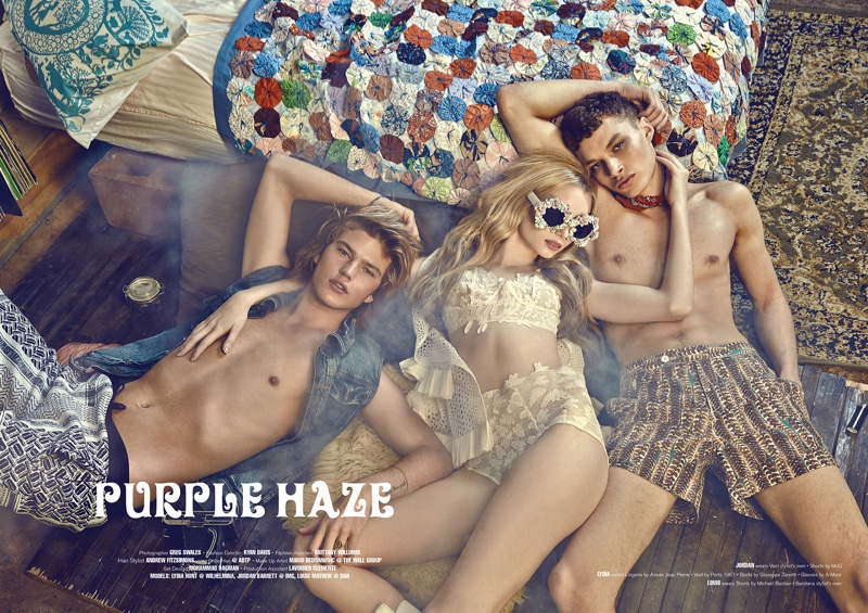 Jordan Barrett, Louis Mayhew and Lydia Hunt channel 70s style for the editorial