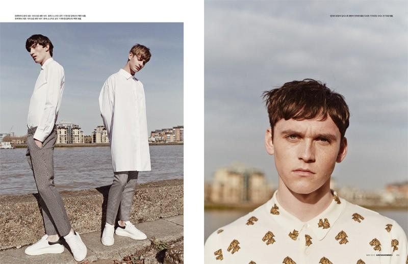 Jester White and Ben Allen deliver white and gray looks based around the oversized shirt (left) while Anders Hayward is captured up-close in a print polo shirt.