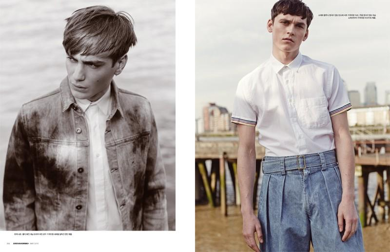 Ben Allen embraces treated denim (left) while Anders Hayward goes retro in high-waist pleated denim jeans.