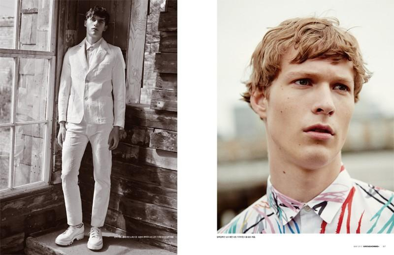Luka Badnjar is ready for summer in head to toe white (left) while Sven de Vries cozies up to color courtesy of Dior Homme.