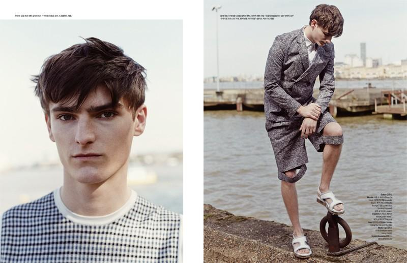 Alexander Beck gets a geometric update before embracing a short suit with knee cut-outs.