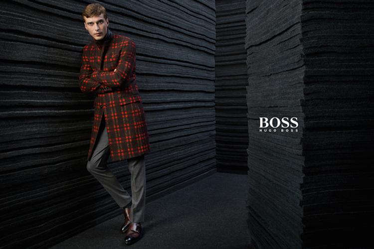 c5567445c Clément Chabernaud Models Red Plaid Coat for BOSS by Hugo Boss Fall ...