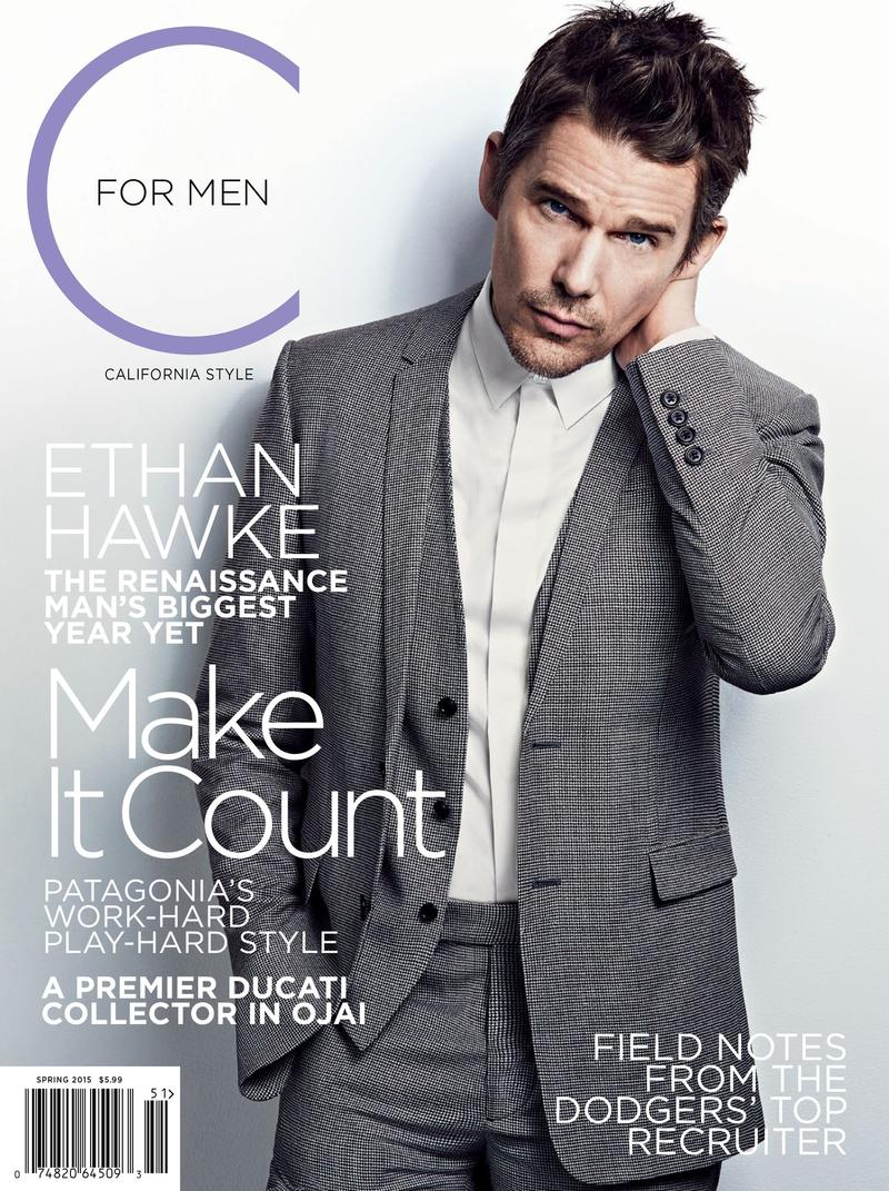Connecting with photographer Mark Abrahams, Ethan Hawke graces the cover of the spring 2015 issue of C For Men.