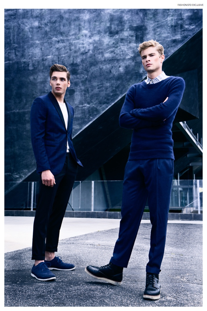 Left to Right: Sam wears t-shirt Nudie Jeans, shoes Carlo Pazolini, plaid blazer and trousers Flos Floris. Frederik wears striped button-down Jacob Davis, sweater Jenny Schwarz, trousers Gucci and shoes model's own.