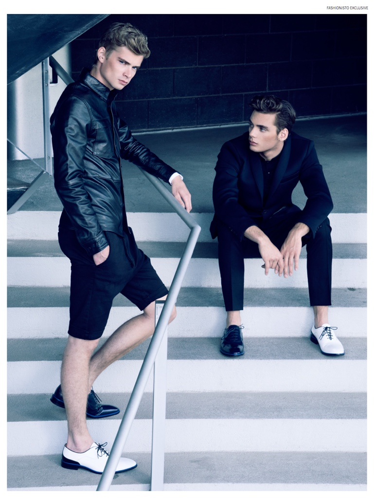 Left to Right: Frederik wears leather button-down Nudie Jeans, shorts Avant Toi, dress shirt Dior Homme and shoes Carlo Pazolini. Sam wears shirt Kill City, suits Flos Floris and shoes Carlo Pazolini.