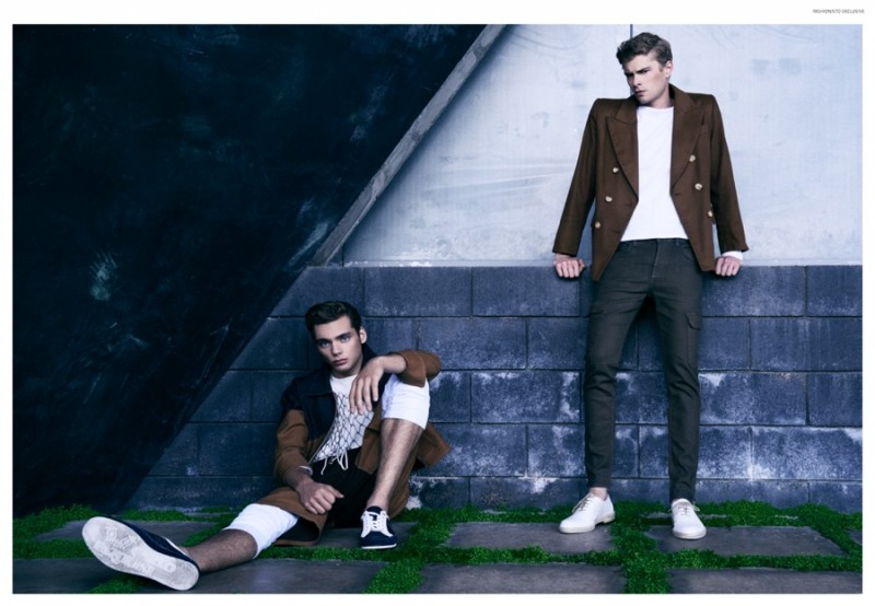 Left to Right: Sam wears tee Nudie Jeans, shoes Carlo Pazolini, jacket, shorts, thermal top and pants James Phlemuns. Frederik wears vintage blazer Yves Saint Laurent, thermal top James Phlemuns, cargo denim Jacob Davis and shoes Carlo Pazolini.