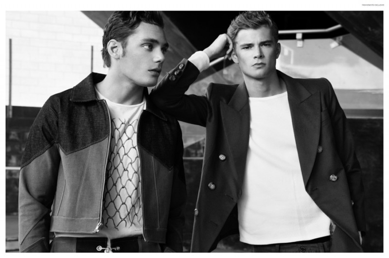 Left to Right: Sam wears tee Nudie Jeans, jacket, shorts and thermal top James Phlemuns. Frederik wears vintage blazer Yves Saint Laurent, thermal top James Phlemuns and cargo denim Jacob Davis.