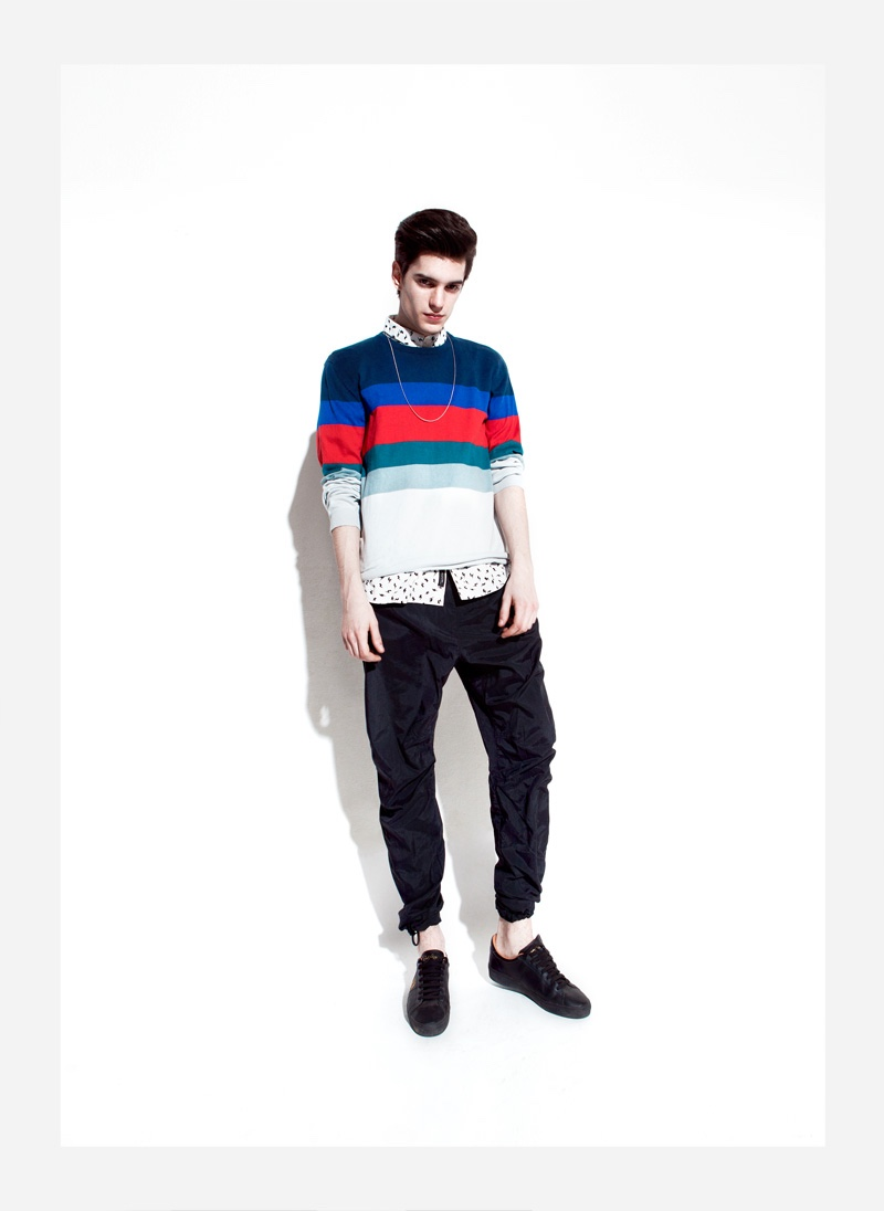 Daniel wears pullover Wesc, necklace Cheap Monday, sneakers Fred Perry, shirt and pants Religion.