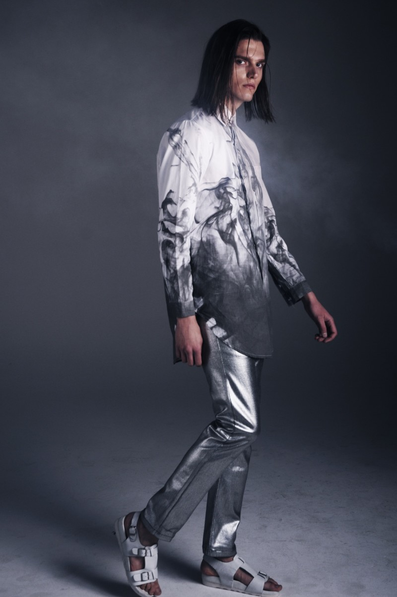 Alexey serves up a flashy metallic pant.