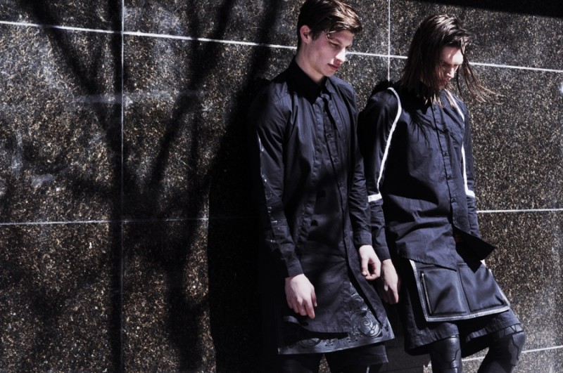 Heading outdoors, Jordan and Alexey showcase Skingraft's long, modern proportions.
