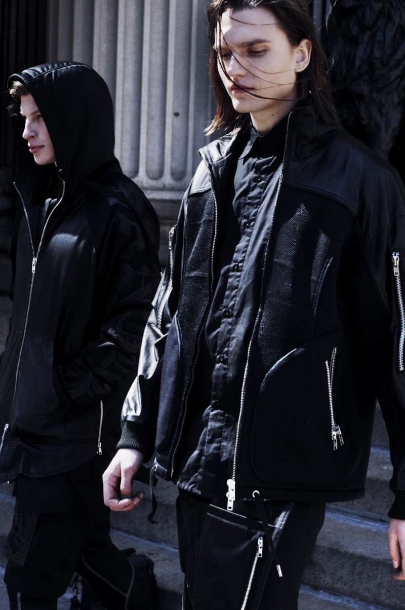Embracing a dark color palette, Jordan and Alexey head out in Skingraft's urban designs.
