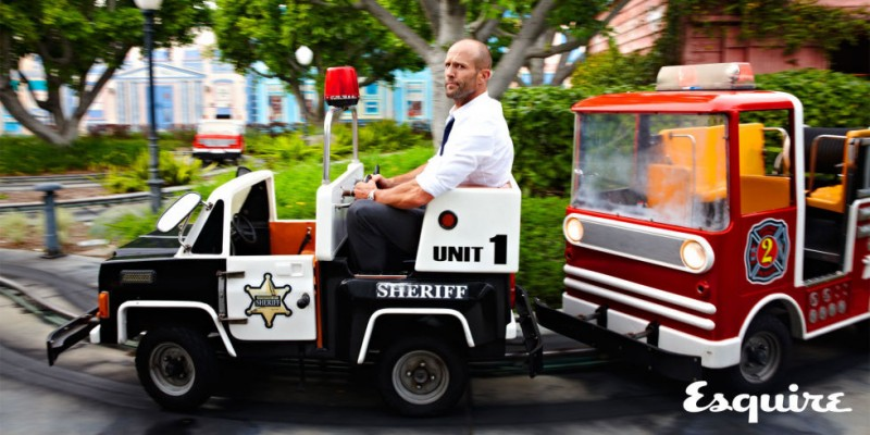 Photographed for Esquire, Jason Statham goes for a ride.