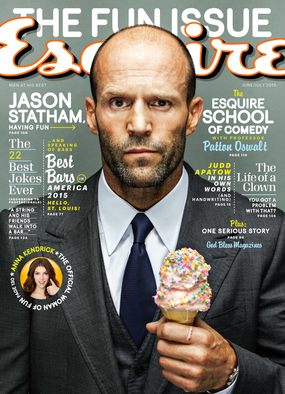 Jason Statham Covers June 2015 Esquire, Talks 'Spy' Movie