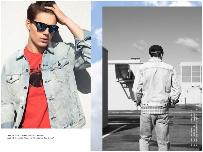 Pairing his denim jacket with a graphic t-shirt, Maks puts on a pair of shades.