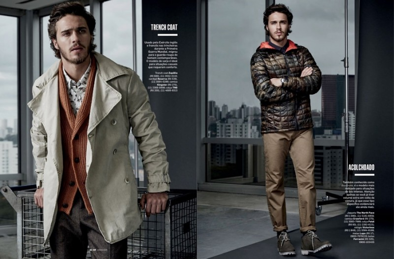Lucas opts for the short trench and a quilted jacket as casual style options.