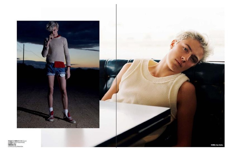 Lucky Blue Smith hits the beach and delivers a leggy look in denim shorts.