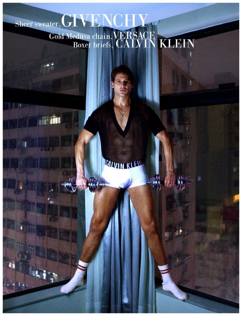Milan gets in a workout wearing Calvin Klein underwear.