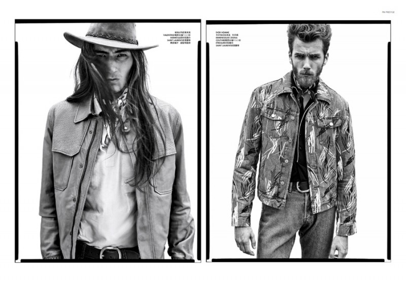 Models channel the spirit of the American west in black & white images.