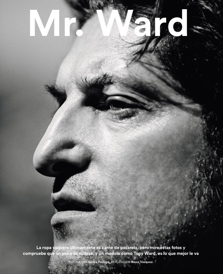 Tony Ward poses for a black & white close-up profiling his iconic nose.