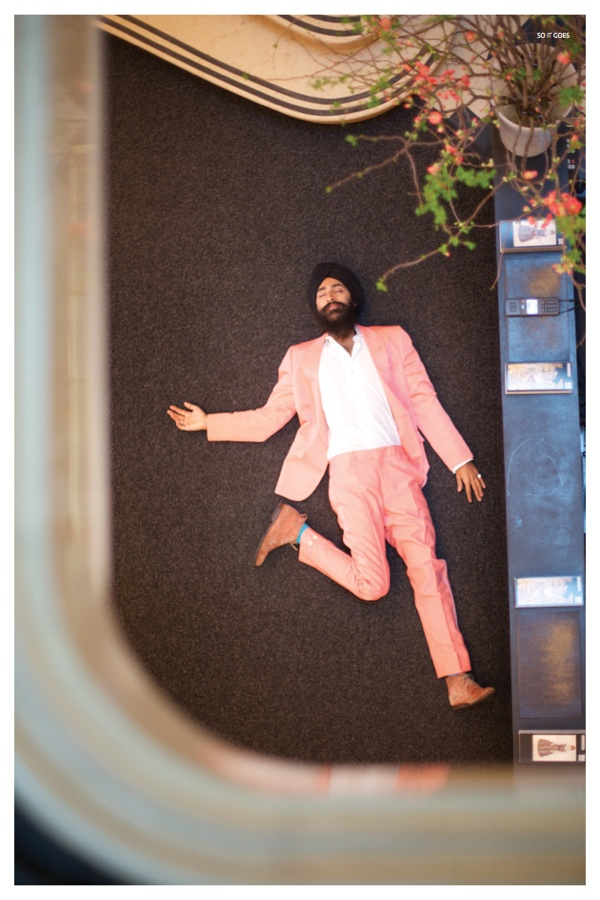 Waris Ahuwalia delights in a coral suiting number.