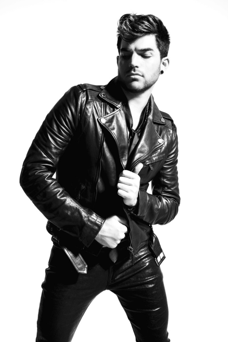 Leather jacket photoshoot - Adam Lambert Is Captured In A Black White Photo