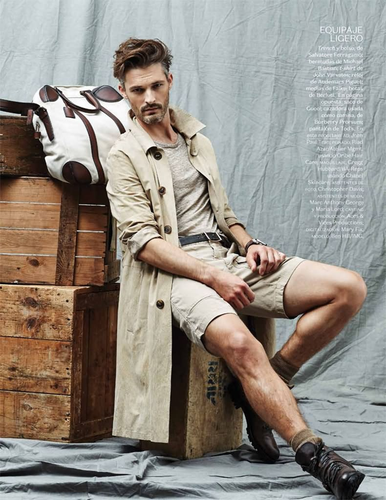 Ben models a timeless trench from Salvatore Ferragamo.