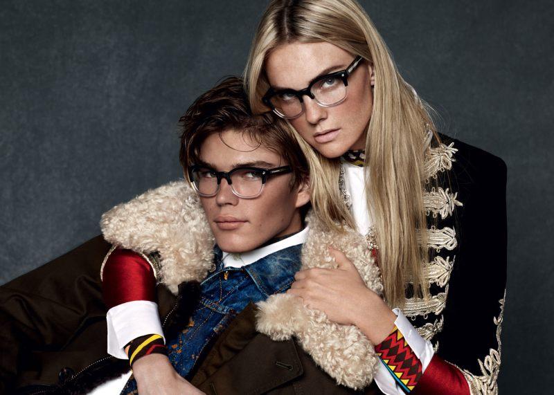 Dsquared2 Fall/Winter 2015 Eyewear Campaign: Jordan Barrett Wears Denim + Shearling